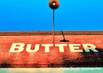 Kingston Butter Factory building façade – front signage