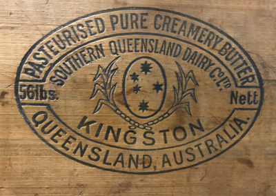 Kingston Butter branding stamp on wooden crate