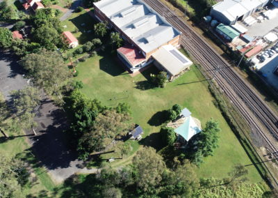 Aerial to show where outdoor stage will be